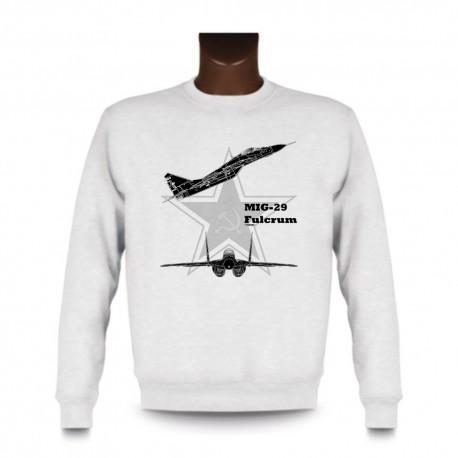 Frauen oder Herren Sweatshirt - Kampfflugzeug - MiG-29 Fulcrum, White