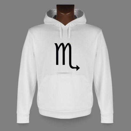 Sweat-shirt blanc à capuche - signe astrologique Scorpion- pour homme ou femme