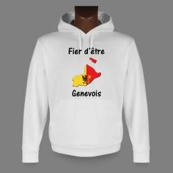 Sweatshirt blanc à capuche - Fier d'être Genevois - pour homme
