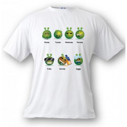 T-Shirt humoristique - Alien Smiley - La semaine de travail - pour femme ou homme, White