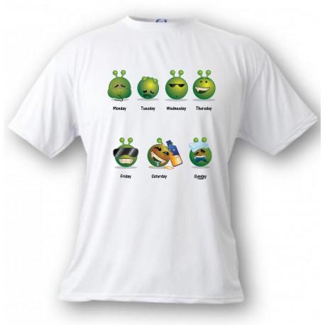 Funny T-Shirt - Alien Smiley - Die Arbeitswoche - für Frauen oder Herren, White