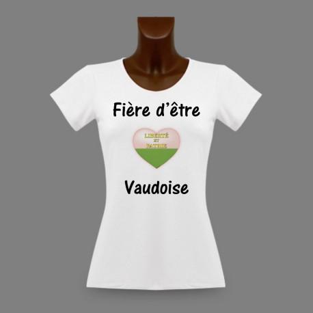 Frauen Slim T-shirt -  Fière d'être Vaudoise
