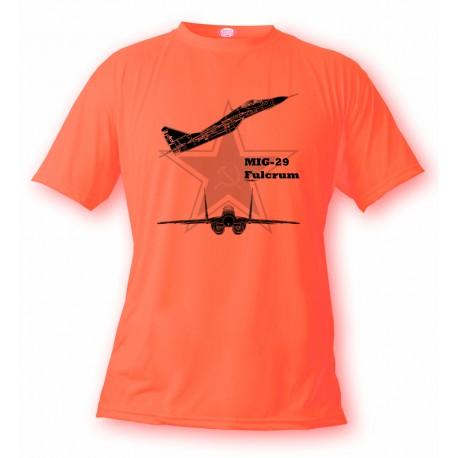 T-Shirt Kampfflugzeug - MiG-29 Fulcrum - für Frauen oder Herren, Safety Orange