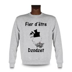 Herren Funny Sweatshirt - Fier d'être Dzodzet, Kühe und Freiburger Grenzen, Ash Heater
