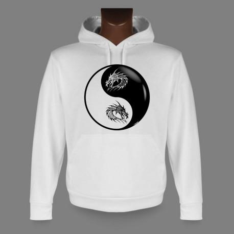 Sweatshirt blanc à capuche - Yin-Yang - Tête de Dragon Tribal