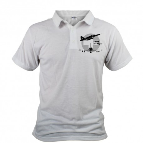 Men's Polo Shirt - Fighter Aircraft - Swiss F-5 Tiger, Front