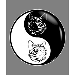 Sticker (autocollant) - Symbole Yin Yang et Chat tribal - pour voiture, notebook, tablette ou smartphone