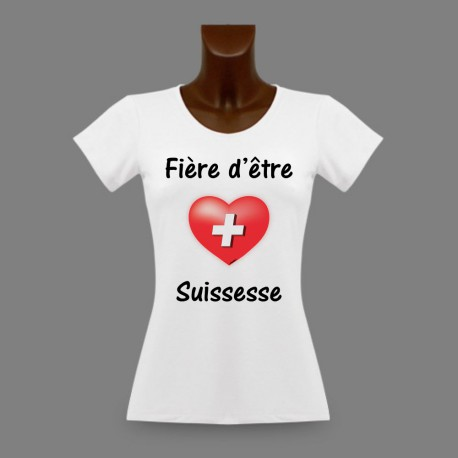 Donna slim T-shirt - Fière d'être Suissesse