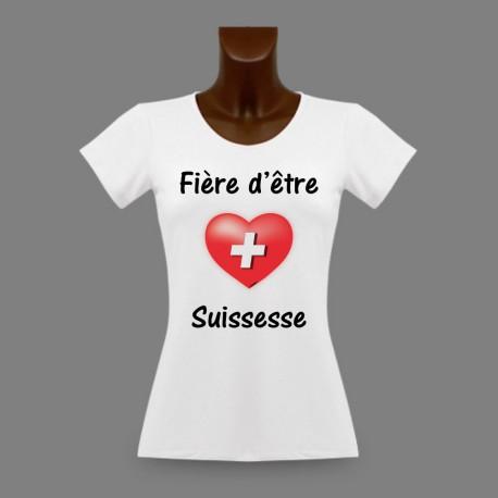 T-Shirt slim moulant pour femme - Fière d'être Suissesse