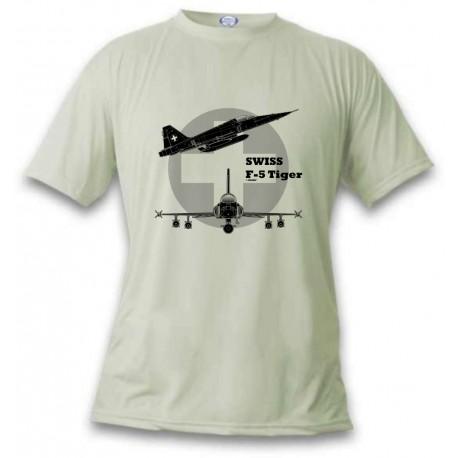 Women's or Men's Fighter Aircraft T-shirt  - Swiss F-5 Tiger, November White