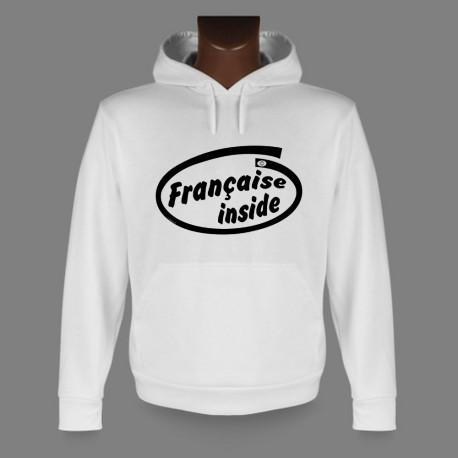 Women's Hooded Funny Sweat - Française inside