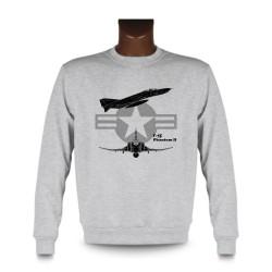 Herrenmode Sweatshirt - Kampfflugzeug - F-4E Phantom II, Ash Heater