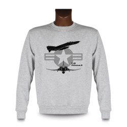 Men's fashion Sweatshirt - Fighter Aircraft - F-4E Phantom II, Ash Heater