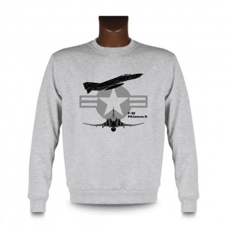 Men's fashion Sweatshirt - Fighter Aircraft - F-4E Phantom II, Ash Heater