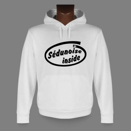 Sweatshirt blanc à capuche - Sédunoise inside, pour dame