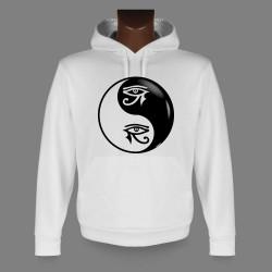 Donna o Uomo Sweat bianco a cappuccio - Yin-Yang - Horus occhio Tribale