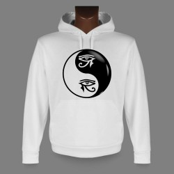 Women's or Men's Hooded Funny Sweat - Yin-Yang - Tribal Horus Eye