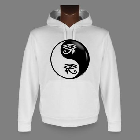 Sweatshirt blanc à capuche - Yin-Yang - L'oeil d'Horus Tribal