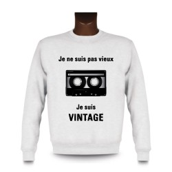 Men's Funny Sweatshirt - Vintage magnetic Tape, White