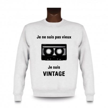 Herren Sweatshirt - Vintage Audiokassette, White