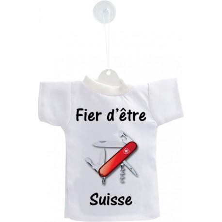 Mini T-shirt - Fier d'être Suisse - couteau militaire suisse - pour votre voiture