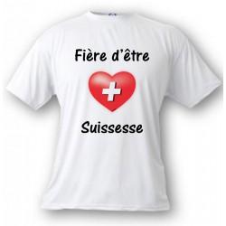 Donna T-Shirt - Fière d'être Suissesse, White