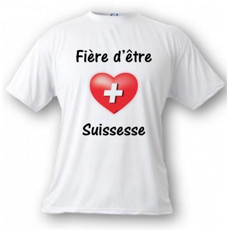 T-Shirt dame - Fière d'être Suissesse, White