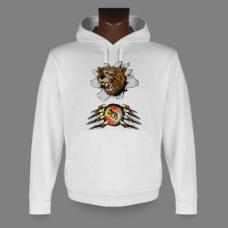 Hooded Funny Sweat - Bern Bear and Ice Hockey puck
