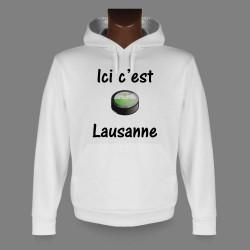 Sweat à capuche - puck de hockey - Ici c'est Lausanne