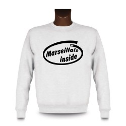 Men's Funny Sweatshirt - Marseillais inside, White