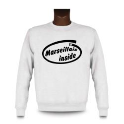Uomo Funny Sweatshirt - Marseillais inside, White