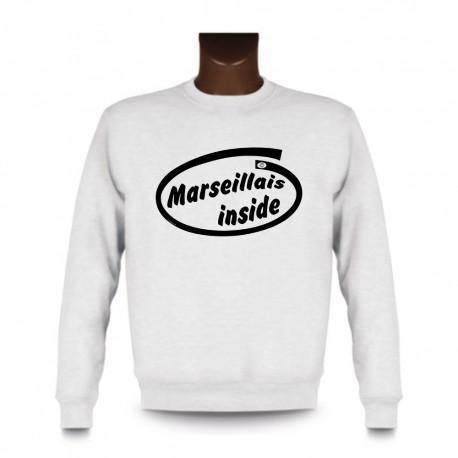 Men's Funny Sweatshirt - Marseillais inside, White