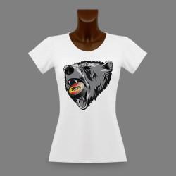 Frauen Slim T-shirt - Berner Bär und Eishockey Puck
