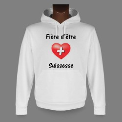 Sweatshirt blanc à capuche dame - Fière d'être Suissesse