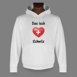 Sweatshirt blanc à capuche - Das isch Schwiiz, pour homme ou femme