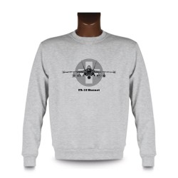 Men's Fashion Sweatshirt - Fighter Aircraft - Swiss FA-18 Hornet, Ash Heater