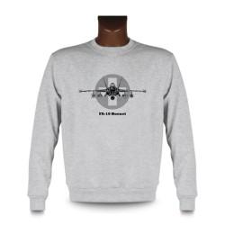 Uomo Moda Sweatshirt - aereo da caccia - Swiss FA-18 Hornet, Ash Heater