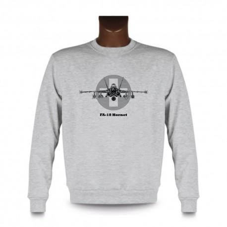 Herren Mode Sweatshirt - Kampfflugzeug - Swiss FA-18 Hornet, Ash Heater