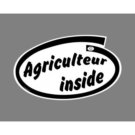 Sticker humoristique - Agriculteur inside - pour voiture