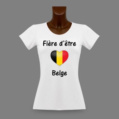 Frauen Slim T-shirt - Fière d'être Belge - Belgisches Herz