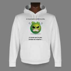 Women's or Men's Hooded Funny Sweat - Alien smiley - Contrôler ma colère