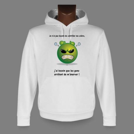 Sweatshirt blanc à capuche - Alien smiley - Contrôler ma colère - pour dame ou homme