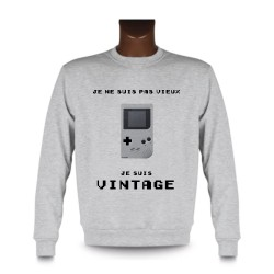 Men's Funny Sweatshirt - Vintage Gameboy, Ash Heater