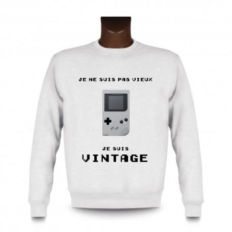 Men's Funny Sweatshirt - Vintage Gameboy, White