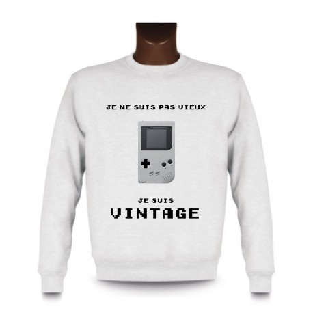 Sweat funny homme - Vintage Gameboy, White