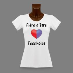 Donna slim T-shirt - Fière d'être Tessinoise - Cuore Ticino