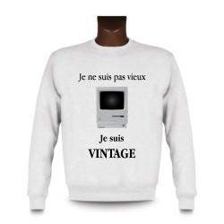 Men's Funny Sweatshirt - Vintage Macintosh, White