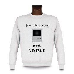 Uomo Funny Sweatshirt - Vintage Macintosh, White