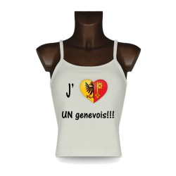 Women's Top - J'aime UN genevois - Geneva Heart, Natural