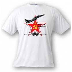 Fighter Aircraft T-shirt - MiG-29 Fulcrum - Color version, White